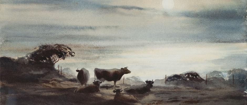 Jonathan Yule - Moonlit cows